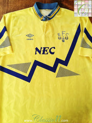 1990/91 Everton Away Football Shirt (L)