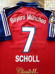 1999/00 Bayern Munich Home Bundesliga Football Shirt Scholl #7 (S)
