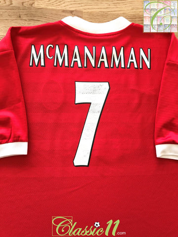 1998/99 Liverpool Home European Football Shirt Mcmanaman #7 (XL)