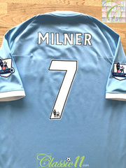 2010/11 Man City Home Premier League Football Shirt Milner #7 (M)