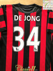 2011/12 Man City Away Premier League Football Shirt De Jong #34 (W) (Size 14)