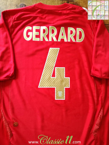 2006/07 England Away Football Shirt Gerrard #4 (XL)