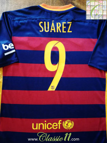 2015/16 Barcelona Home Football Shirt Suárez (XL)
