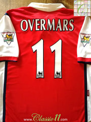 1998/99 Arsenal Home Premier League Football Shirt Overmars #11 (L)