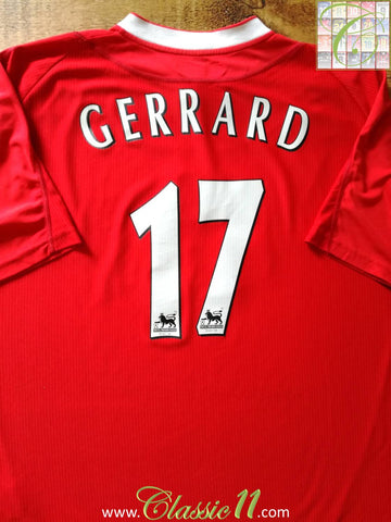 2002/03 Liverpool Home Premier League Football Shirt Gerrard #17 (XXL)