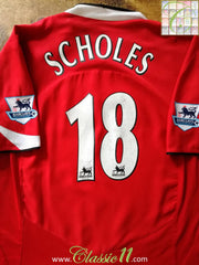 2004/05 Man Utd Home Premier League Football Shirt Scholes #18 (XL)