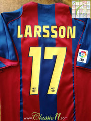 2004/05 Barcelona Home La Liga Football Shirt Larrson #17 (S)