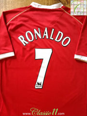 2006/07 Man Utd Home Premier League Football Shirt Ronaldo #7 (L)