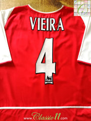 2002/03 Arsenal Home Premier League Football Shirt Vieira #4 (XL)