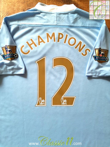 2011/12 Man City Home Premier League Football Shirt Champions #12 (XL)