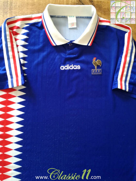 a1fd44e2b0b 1994 95 France Home Classic Football Shirt   Vintage Soccer Jersey ...