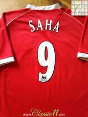 2006/07 Man Utd Home Premier League Football Shirt Saha #9 (L)