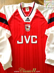 1992/93 Arsenal Home Player Issue Football Shirt (XL)