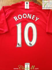 2007/08 Man Utd Home Premier League Football Shirt Rooney #10 (XL)