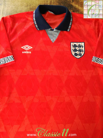 1990/91 England Away Football Shirt (M)