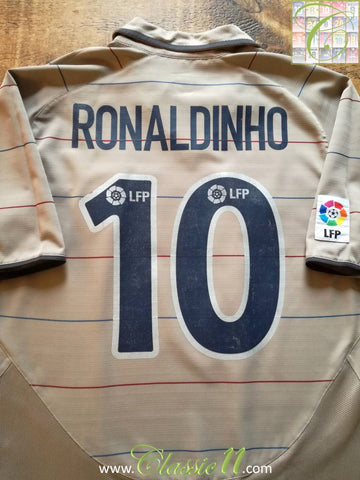 2003/04 Barcelona Away La Liga Football Shirt Ronaldinho #10 (M)