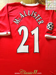 2001/02 Liverpool Champions League Football Shirt McAllister #21 (XL)