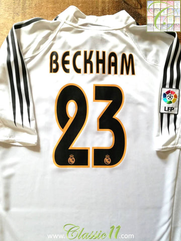 2004/05 Real Madrid Home La Liga Football Shirt Beckham #23 (M)