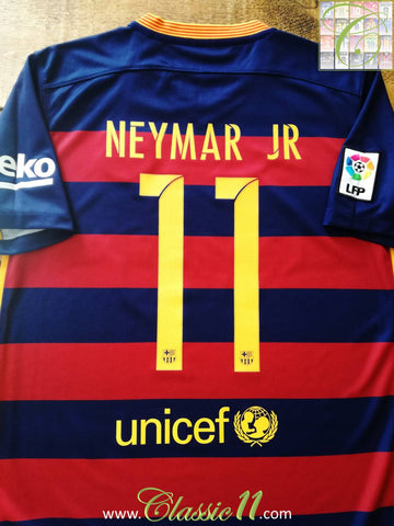2015/16 Barcelona Home Football Shirt Neymar Jr #11 (S)