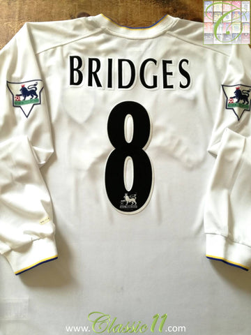 2000/01 Leeds United Home Premier League Football Shirt Bridges #8 (L)