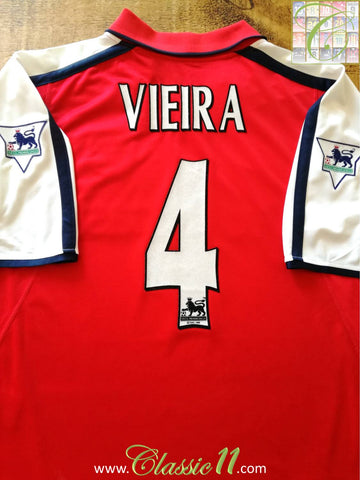 2000/01 Arsenal Home Premier League Football Shirt Vieira #4 (XXL)