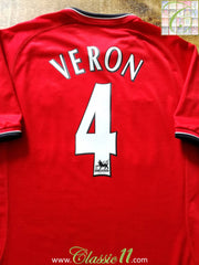 2001/02 Man Utd Home Premier League Football Shirt Veron #4 (XXL)