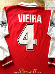 1996/97 Arsenal Home Premier League Football Shirt Vieira #4 (L)
