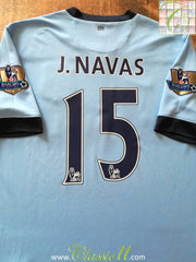 2014/15 Man City Home Premier League Football Shirt J. Navas #15 (L)