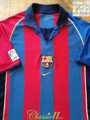 2001/02 Barcelona Home La Liga Football Shirt (L)