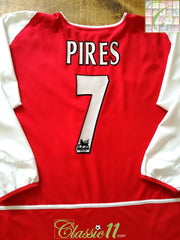 2002/03 Arsenal Home Premier League Football Shirt Pires #7. (XL)