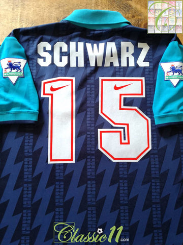 1994/95 Arsenal Away Premier League Football Shirt Schwarz #15 (XL)