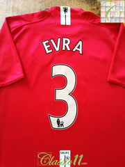 2007/08 Man Utd Home Premier League Football Shirt Evra #3 (XL)