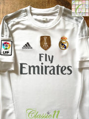 2015/16 Real Madrid Home World Champions Football Shirt (S)