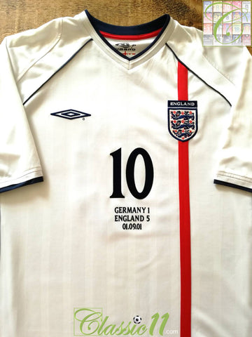 2001 England vs Germany Home Football Shirt Owen #10 (XL)