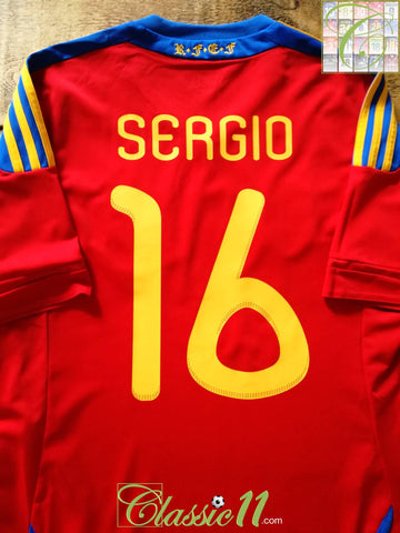 2010/11 Spain Home World Champions Football Shirt Sergio #16 (M)