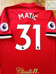 2017/18 Man Utd Home Premier League Football Shirt Matic #31 (L)