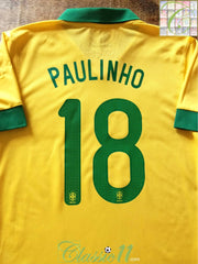 2013/14 Brazil Home Player Issue Football Shirt Paulinho #18 (L)