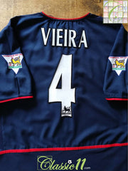 2002/03 Arsenal Away Premier League Football Shirt Vieira #4 (XL)