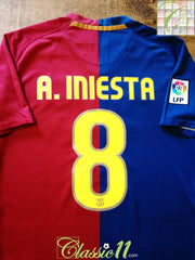2008/09 Barcelona Home La Liga Football Shirt A. Iniesta #8 (S)