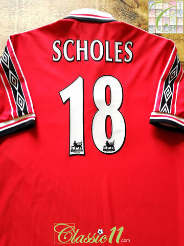 1998/99 Man Utd Home Premier League Football Shirt Scholes #18 (M)