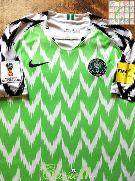 52138f0c3eb 2018 Nigeria Home World Cup Football Shirt   Old Nike Soccer Jersey ...