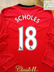 2009/10 Man Utd Home Premier League Football Shirt Scholes #18 (XL)