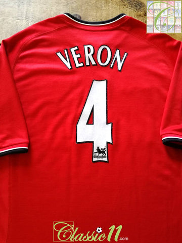 2001/02 Man Utd Home Premier League Football Shirt Veron #4 (XL)