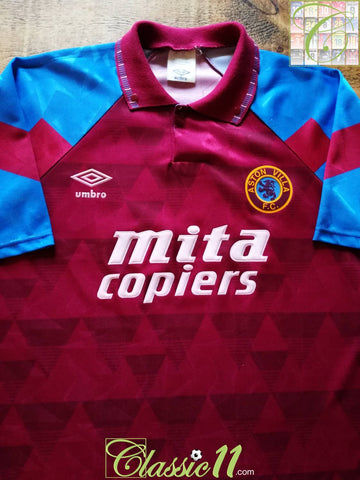1990/91 Aston Villa Home Football Shirt (M)