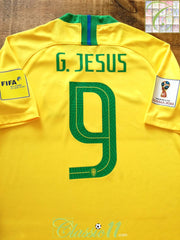 2018 Brazil Home World Cup Football Shirt G. Jesus #9 (L)