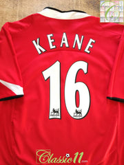 2004/05 Man Utd Home Premier League Football Shirt Keane #16 (XL)