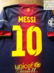 2012/13 Barcelona Home Champions League Football Shirt Messi #10 (S)