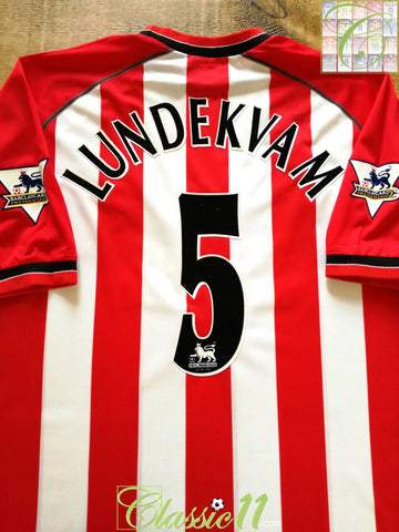 2002/03 Southampton Home Premier League Football Shirt Lundekvam #5 (XL)