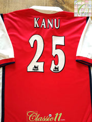 1999/00 Arsenal Home Premier League Football Shirt Kanu #25 (XL)