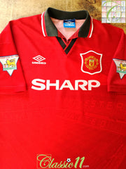 1994/95 Man Utd Home Premier League Football Shirt (L)